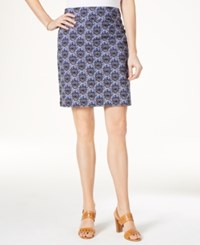 Charter Club Medallion Print Pull On Skort Only At Macy's Intrepid Blue Combo