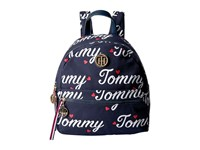 Tommy Hilfiger Signature Backpack Navy Fiery Red Wristlet Handbags