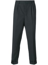 Ami Alexandre Mattiussi Pleated Carrot Fit Trousers Grey