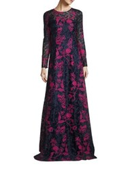David Meister Embroidered Lace Gown Navy Pink