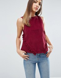 Asos Cord Shell Top With Ruffle Front Oxblood Red