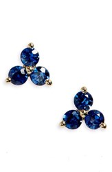 Ef Collection Women's Trio Precious Stone Stud Earrings Sapphire
