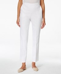 Alfred Dunner Pull On Straight Leg Ankle Pants White