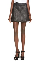 Wayf Quilted Faux Leather Miniskirt Black