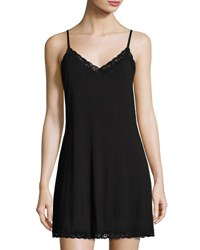 Natori Feathers Lace Trim Chemise Black