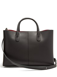 Mansur Gavriel Red Lined Folded Leather Bag Black
