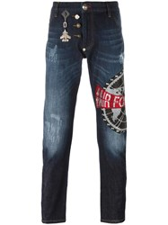 Philipp Plein Air Force Embellished Jeans Blue