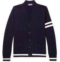 Ralph Lauren Purple Label Striped Merino Wool Cardigan Navy