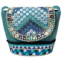 East Mirror Embroidered Leather Across Body Bag Turquoise