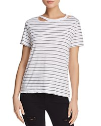 Michelle By Comune Cutout Striped Jersey Tee 100 Exclusive White Black