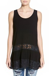 Junior Women's Sun And Shadow Lace Detail Drop Waist Tunic Black