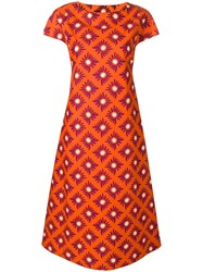 Aspesi Floral Printed Shift Dress Orange