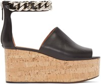 Givenchy Black Leather Cork Wedge Sandal
