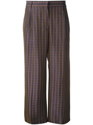 Aspesi Checked Cropped Trousers Women Silk Viscose 44 Blue