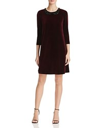 Betsey Johnson Embellished Velvet Dress Wine