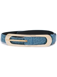 Oscar De La Renta Cornflower Buckle Belt Blue