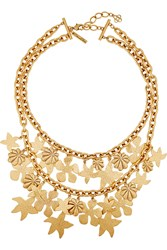 Oscar De La Renta Seashell Gold Plated Necklace Metallic