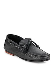 Bacco Bucci Arena Tie Leather Loafers Black