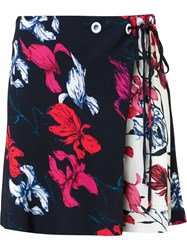 Thakoon Floral Print Wrap Mini Skirt Black