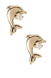 Candela 10K Yellow Gold Cz Dolphin Stud Earrings No Color