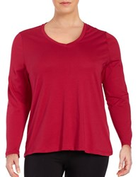 Lord And Taylor Plus Cotton V Neck Tee Red