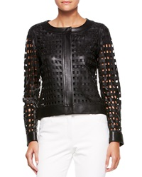 Escada Leather Cutout Grid Jacket Black