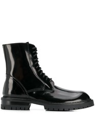 Ann Demeulemeester Patent Lace Up Ankle Boots Black