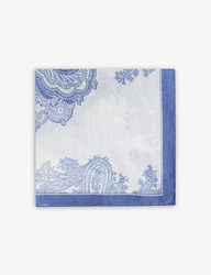 Oscar Jacobson Patterned Cotton And Silk Pocket Square Blue