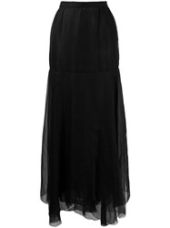 Chanel Vintage 1990'S Silk Layered Long Skirt Black