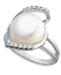 Macy's Sterling Silver Ring Diamond 1 10 Ct. T.W. And Cultured Freshwater Button Pearl 11Mm Ring White
