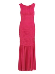 Gina Bacconi Long Ruched Dress In Stretch Mesh Red