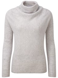 Pure Collection Gabriel Drape Neck Gassato Cashmere Jumper Iced Grey