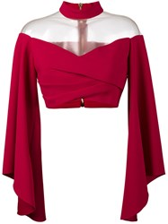 Balmain Off Shoulder Top With Flared Sleeves Pink Purple