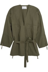 Alexander Wang T By Belted Cotton Twill Jacket Army Green