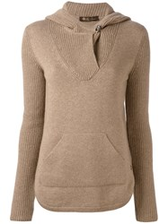 Loro Piana Kangaroo Pocket Hooded Jumper Women Cashmere 40 Brown