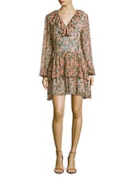 Marchesa Floral Print Tiered Dress Coral Pink