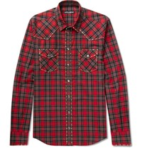 Dolce And Gabbana Slim Fit Studded Checked Cotton Twill Shirt Red