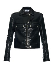 Courreges Zip Front Patent Jacket Black