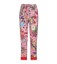 Gucci Floral Silk Print Trousers Pink