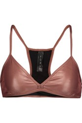 Koral Primary Metallic Stretch Jersey Sports Bra Bronze