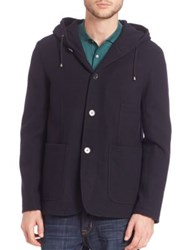 Saks Fifth Avenue Hooded Wool Coat Navy
