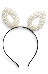 Bp Pearly Bunny Ear Headband Black Ivory