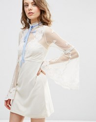 Asos High Neck Edwardian Mini Babydoll Dress Cream