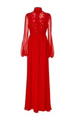 Giambattista Valli Long Sleeve Floral Gown Red