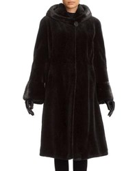 Gorski Sheared Mink Hooded Reversible Coat Black
