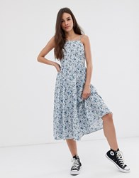 Daisy Street Tiered Midi Dress In Ditsy Floral Blue