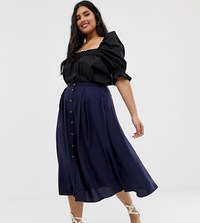 Asos Design Curve Button Front Floaty Midi Skirt With Pleats Navy