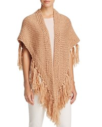 Fraas Cable Knit Triangle Scarf Beige