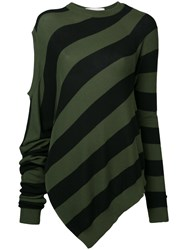 A.F.Vandevorst Striped Knitted Top Women Cotton M Green