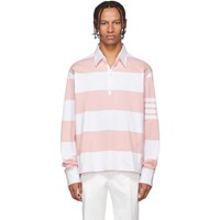Thom Browne Pink And White 4 Bar Oversized Long Sleeve Polo